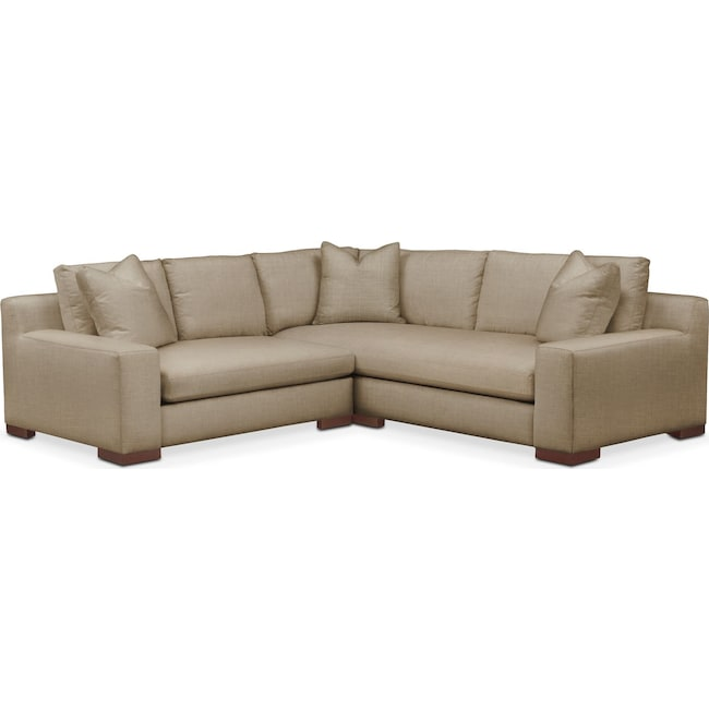 Living Room Furniture - Ethan 2 Pc. Sectional with Left Arm Facing Loveseat- Comfort in Milford II Toast