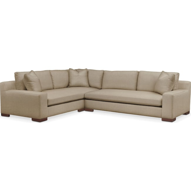 Living Room Furniture - Ethan 2 Pc. Sectional with Right Arm Facing Sofa- Comfort in Milford II Toast