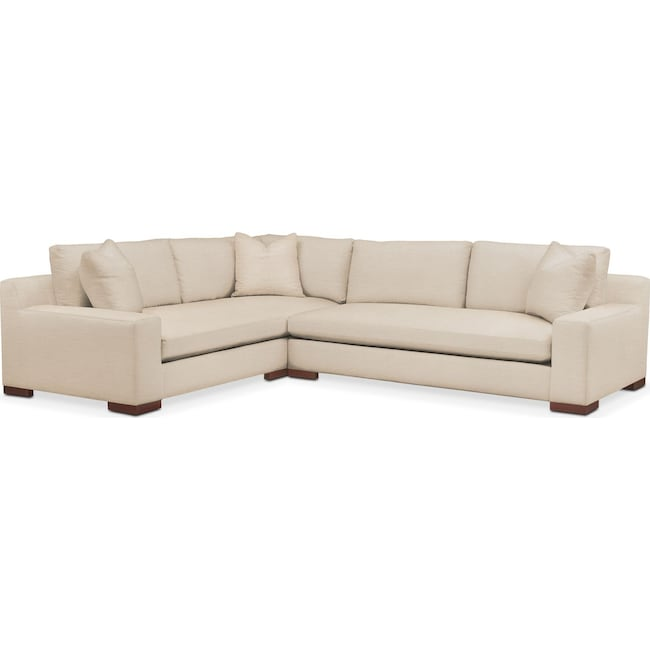Living Room Furniture - Ethan 2 Pc. Sectional with Right Arm Facing Sofa- Comfort in Victory Ivory