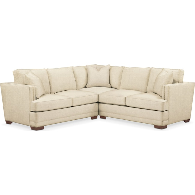 Living Room Furniture - Arden 2 Pc. Sectional with Left Arm Facing Loveseat- Cumulus in Anders Cloud