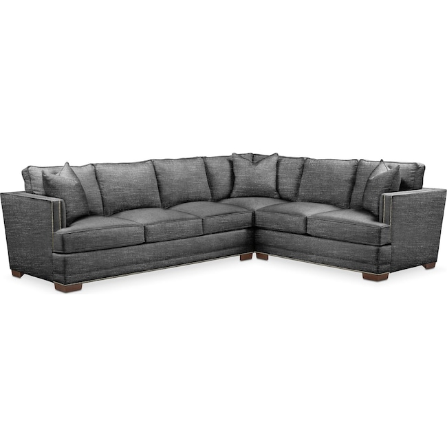 Living Room Furniture - Arden 2-Piece Sectional with Left-Facing Sofa - Cumulus in Curious Charcoal