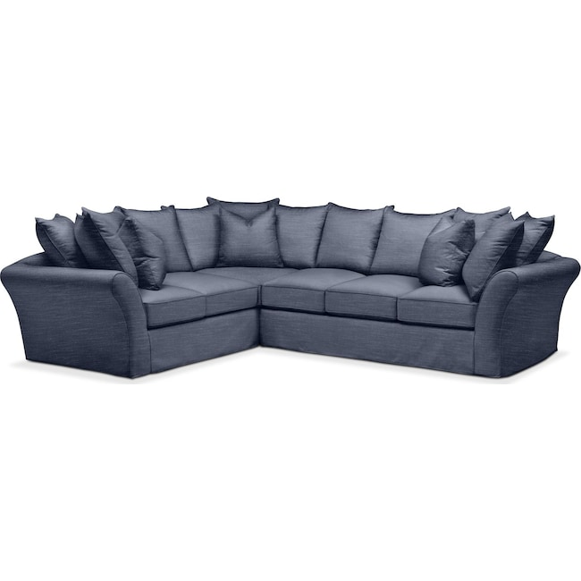 Living Room Furniture - Allison 2 Pc. Sectional with Right Facing Sofa- Comfort in Curious Eclipse