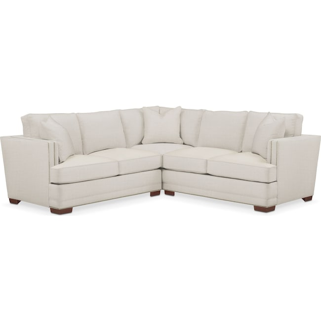 Living Room Furniture - Arden 2 Pc. Sectional with Left Arm Facing Loveseat- Cumulus in Anders Ivory