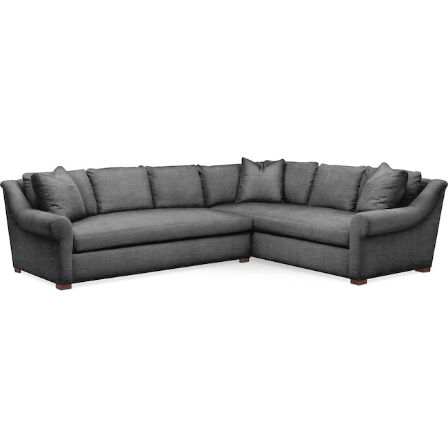 Living Room Furniture - Asher 2 Pc. Sectional with Left Arm Facing Sofa- Comfort in Curious Charcoal
