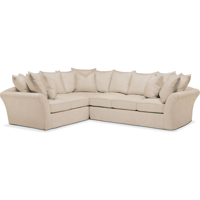 Living Room Furniture - Allison 2 Pc. Sectional with Right Facing Sofa- Cumulus in Dudley Buff