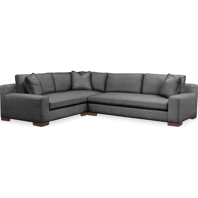 Living Room Furniture - Ethan 2 Pc. Sectional with Right Arm Facing Sofa- Comfort in Curious Charcoal