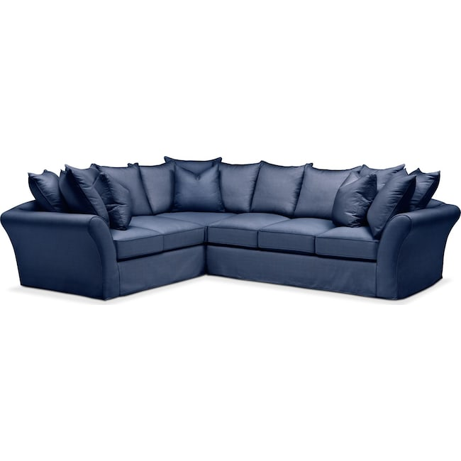 Living Room Furniture - Allison 2-Piece Sectional with Right-Facing Sofa - Comfort in Abington TW Indigo