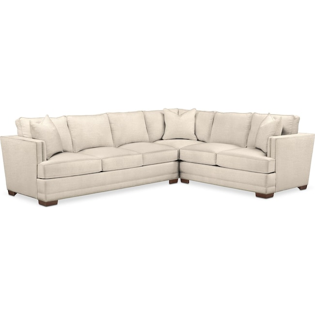 Living Room Furniture - Arden 2 Pc. Sectional with Left Arm Facing Sofa- Cumulus in Curious Pearl