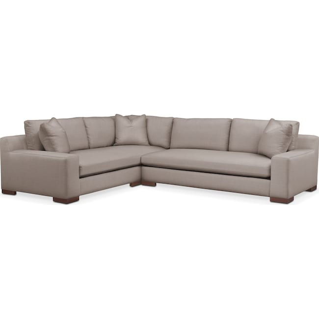 Living Room Furniture - Ethan 2 Pc. Sectional with Right Arm Facing Sofa- Cumulus in Abington TW Fog