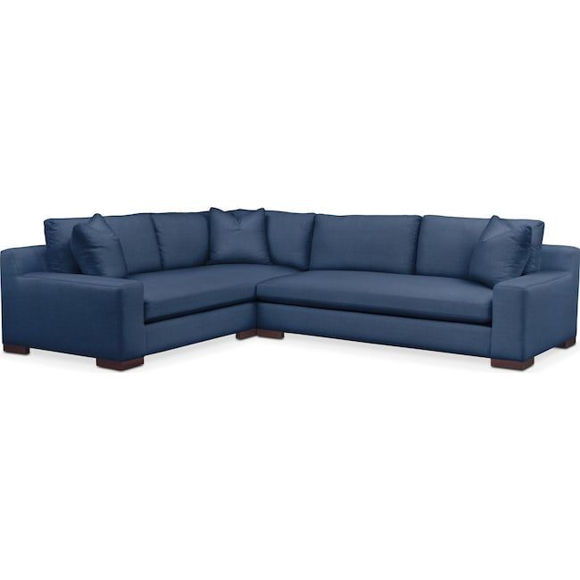 Living Room Furniture - Ethan 2 Pc. Sectional with Right Arm Facing Sofa- Comfort in Hugo Indigo