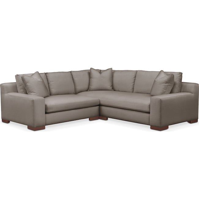 Living Room Furniture - Ethan 2 Pc. Sectional with Left Arm Facing Loveseat- Cumulus in Oakley III Granite