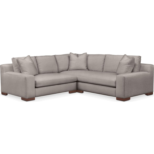 Living Room Furniture - Ethan 2 Pc. Sectional with Left Arm Facing Loveseat- Comfort in Curious Silver Rine