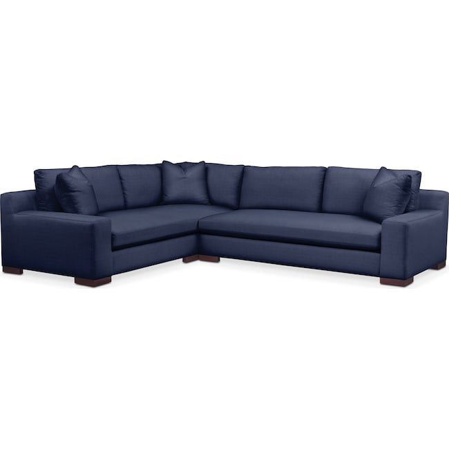Living Room Furniture - Ethan 2-Piece Sectional with Right-Facing Sofa - Cumulus in Oakley III Ink