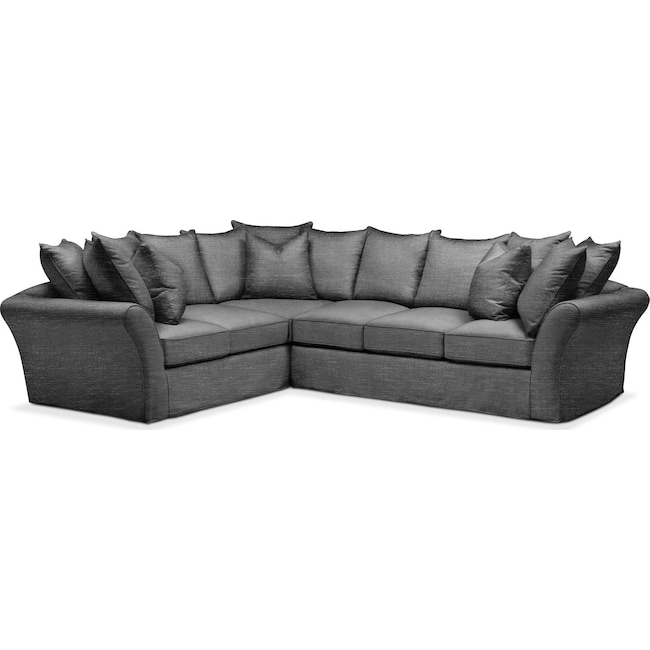Living Room Furniture - Allison 2 Pc. Sectional with Right Facing Sofa- Cumulus in Curious Charcoal