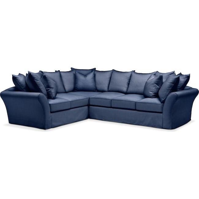Living Room Furniture - Allison 2 Pc. Sectional with Right Facing Sofa- Cumulus in Abington TW Indigo