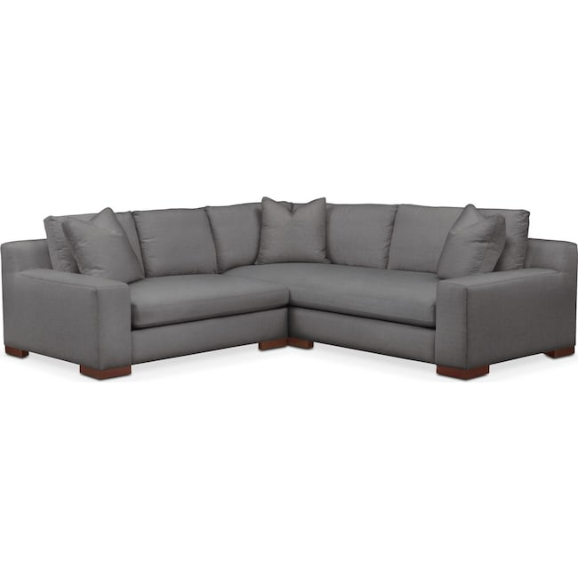 Living Room Furniture - Ethan 2 Pc. Sectional with Left Arm Facing Loveseat- Cumulus in Hugo Graphite