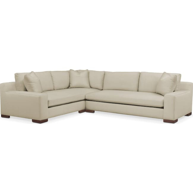 Living Room Furniture - Ethan 2 Pc. Sectional with Right Arm Facing Sofa- Cumulus in Abington TW Barley