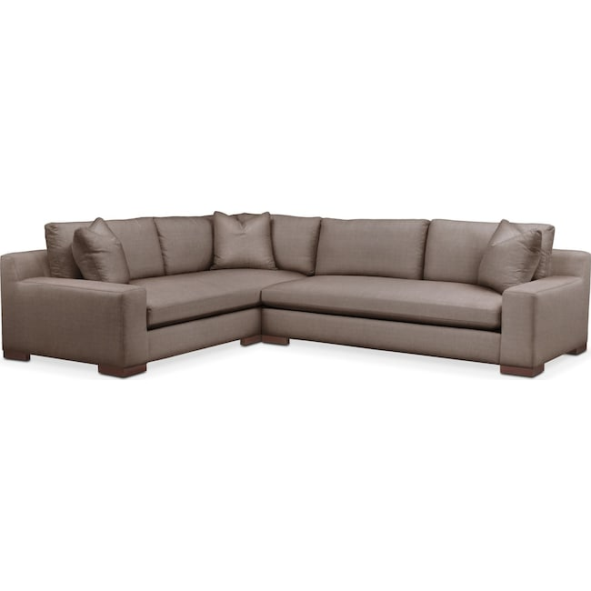 Living Room Furniture - Ethan 2 Pc. Sectional with Right Arm Facing Sofa- Comfort in Hugo Mocha