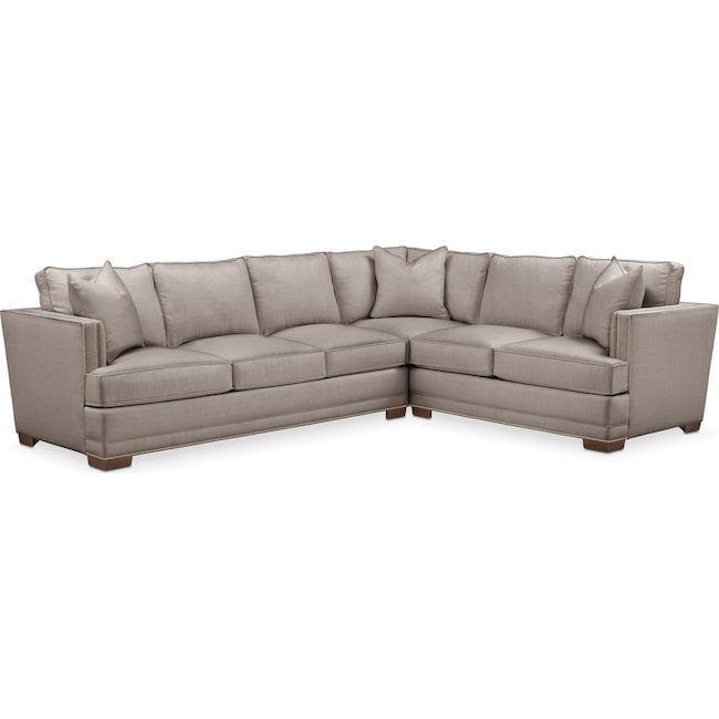 Living Room Furniture - Arden 2 Pc. Sectional with Left Arm Facing Sofa- Cumulus in Abington TW Fog