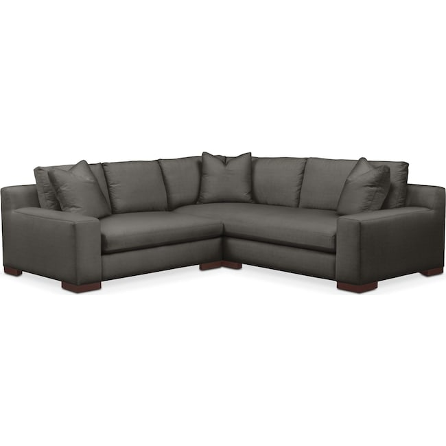 Living Room Furniture - Ethan 2 Pc. Sectional with Left Arm Facing Loveseat- Comfort in Statley L Sterling