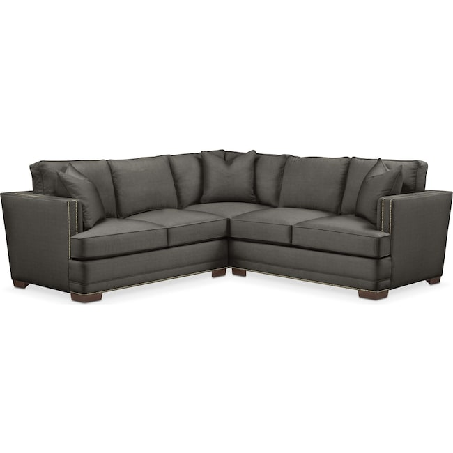 Living Room Furniture - Arden 2 Pc. Sectional with Left Arm Facing Loveseat- Cumulus in Statley L Sterling