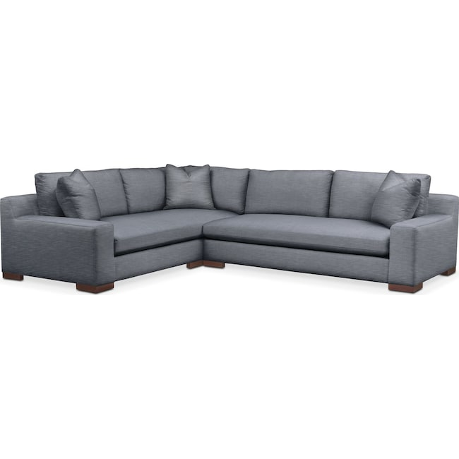 Living Room Furniture - Ethan 2 Pc. Sectional with Right Arm Facing Sofa- Comfort in Dudley Indigo