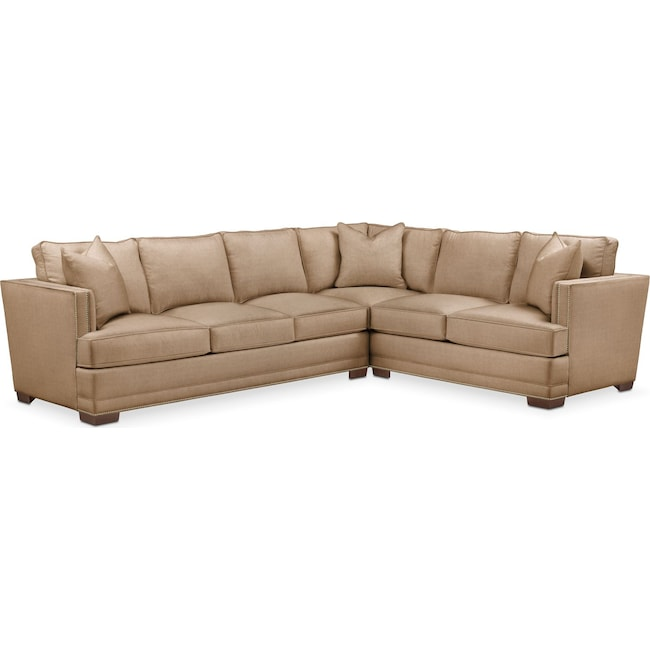 Living Room Furniture - Arden 2 Pc. Sectional with Left Arm Facing Sofa- Cumulus in Hugo Camel