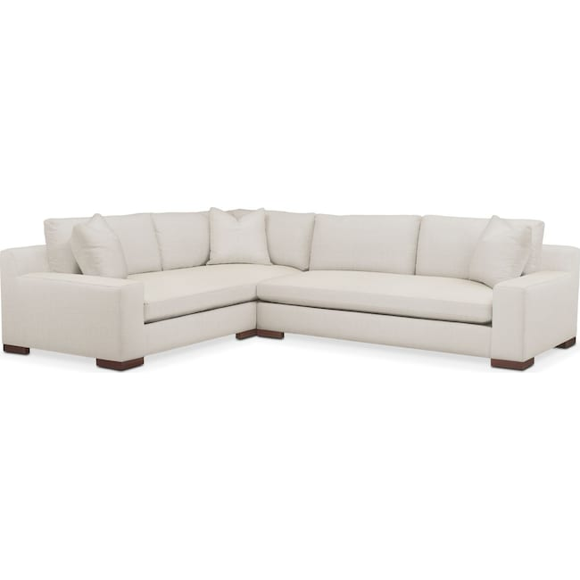 Living Room Furniture - Ethan 2 Pc. Sectional with Right Arm Facing Sofa- Cumulus in Anders Ivory