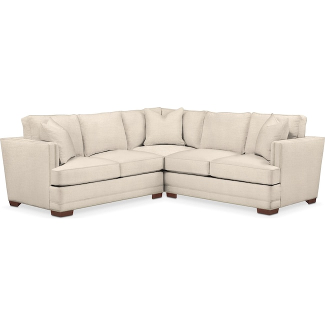 Living Room Furniture - Arden 2 Pc. Sectional with Left Arm Facing Loveseat- Cumulus in Curious Pearl