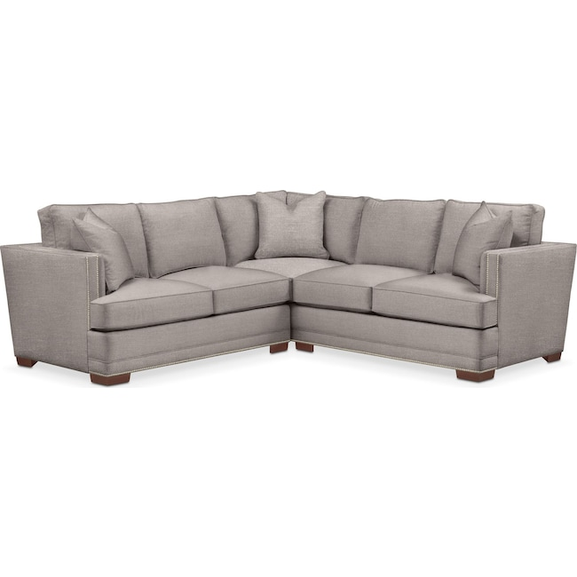 Living Room Furniture - Arden 2 Pc. Sectional with Left Arm Facing Loveseat- Cumulus in Curious Silver Rine