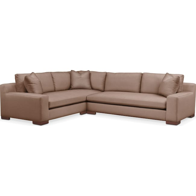 Living Room Furniture - Ethan 2 Pc. Sectional with Right Arm Facing Sofa- Comfort in Abington TW Antler