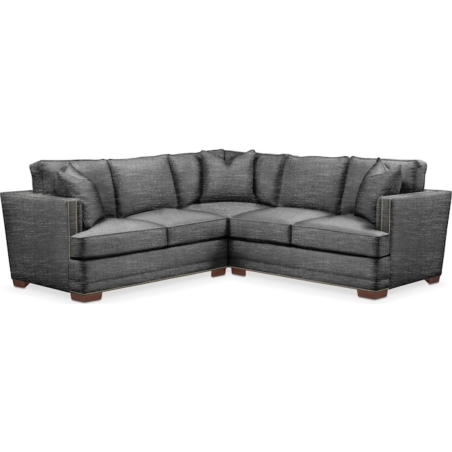 Living Room Furniture - Arden 2-Piece Sectional with Left-Facing Loveseat - Cumulus in Curious Charcoal