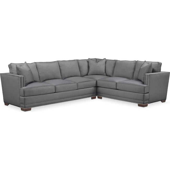 Living Room Furniture - Arden 2-Piece Sectional with Left-Facing Sofa - Cumulus in Depalma Charcoal