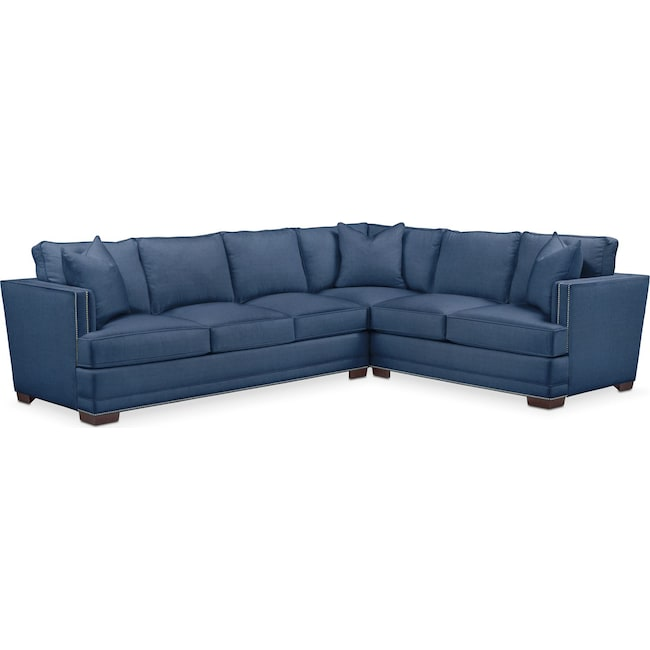 Living Room Furniture - Arden 2 Pc. Sectional with Left Arm Facing Sofa- Cumulus in Hugo Indigo