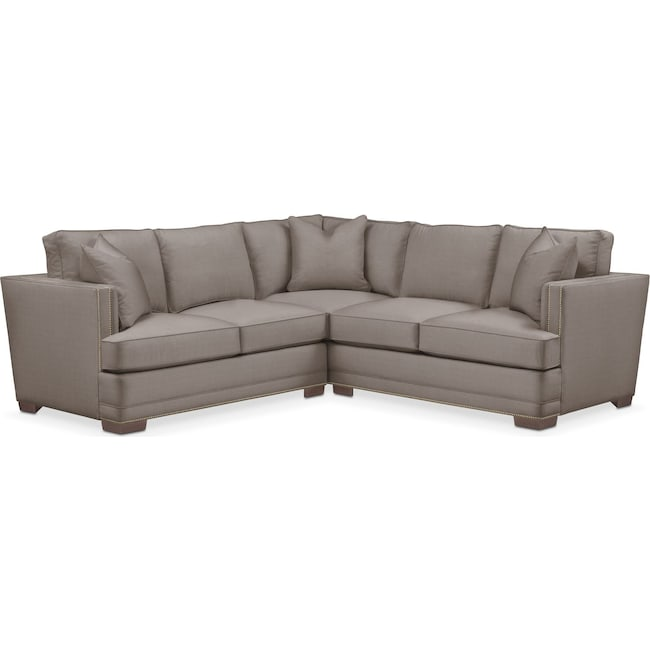 Living Room Furniture - Arden 2 Pc. Sectional with Left Arm Facing Loveseat- Cumulus in Oakley III Granite