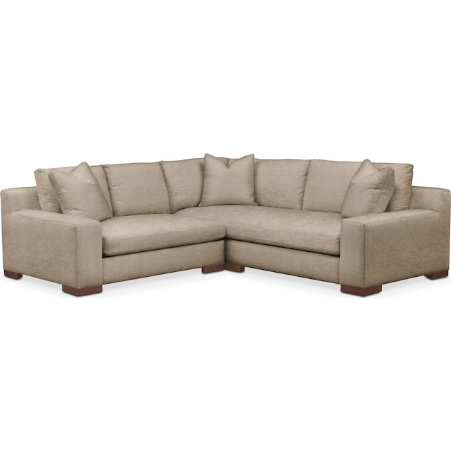 Living Room Furniture - Ethan 2 Pc. Sectional with Left Arm Facing Loveseat- Comfort in Dudley Burlap