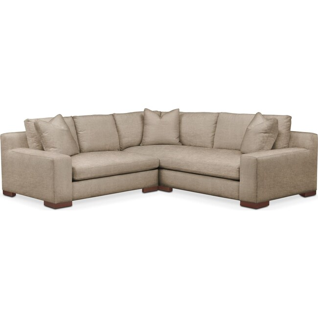 Living Room Furniture - Ethan 2 Pc. Sectional with Left Arm Facing Loveseat- Cumulus in Dudley Burlap
