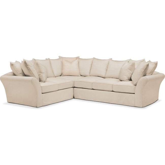Living Room Furniture - Allison 2 Pc. Sectional with Right Facing Sofa- Comfort in Victory Ivory