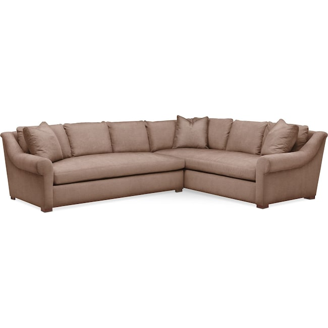 Living Room Furniture - Asher 2 Pc. Sectional with Left Arm Facing Sofa- Comfort in Abington TW Antler