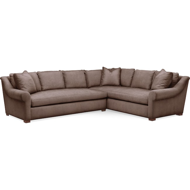 Living Room Furniture - Asher 2 Pc. Sectional with Left Arm Facing Sofa- Comfort in Oakley III Java