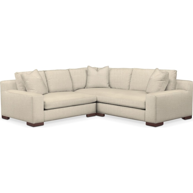 Living Room Furniture - Ethan 2 Pc. Sectional with Left Arm Facing Loveseat- Comfort in Anders Cloud