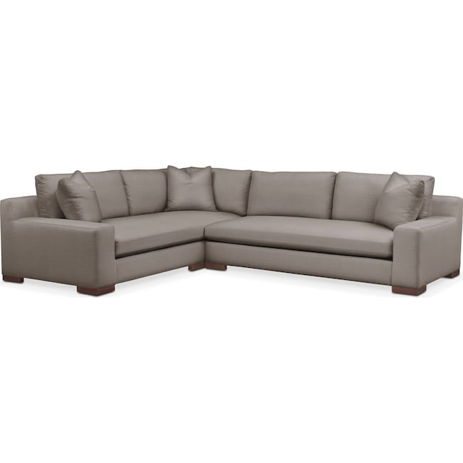 Living Room Furniture - Ethan 2 Pc. Sectional with Right Arm Facing Sofa- Cumulus in Oakley III Granite