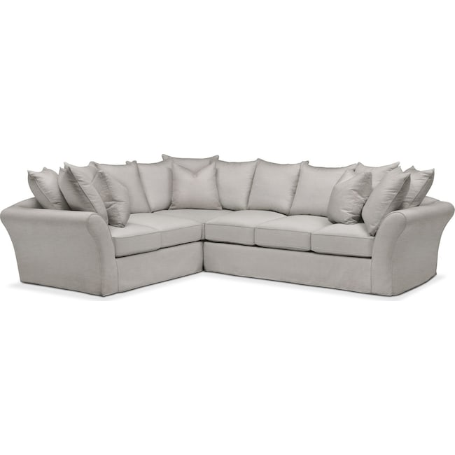 Living Room Furniture - Allison 2 Pc. Sectional with Right Facing Sofa- Comfort in Dudley Gray
