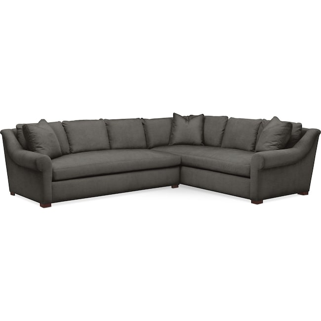 Living Room Furniture - Asher 2 Pc. Sectional with Left Arm Facing Sofa- Comfort in Statley L Sterling