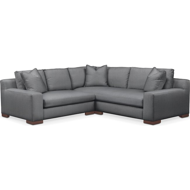 Living Room Furniture - Ethan 2 Pc. Sectional with Left Arm Facing Loveseat- Cumulus in Depalma Charcoal