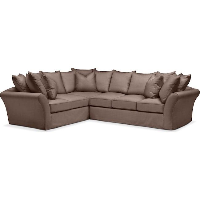 Living Room Furniture - Allison 2 Pc. Sectional with Right Facing Sofa- Comfort in Oakley III Java