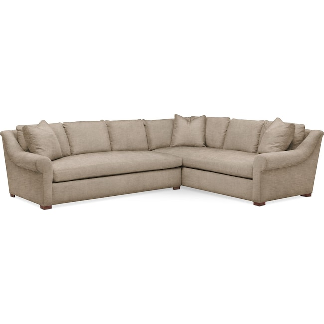 Living Room Furniture - Asher 2-Piece Sectional with Left-Facing Sofa - Cumulus in Dudley Burlap