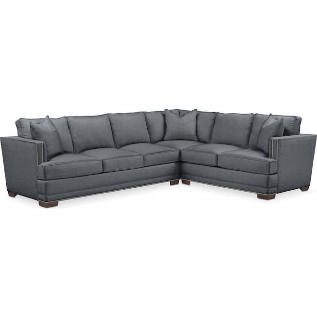 Living Room Furniture - Arden 2 Pc. Sectional with Left Arm Facing Sofa- Cumulus in Milford II Charcoal