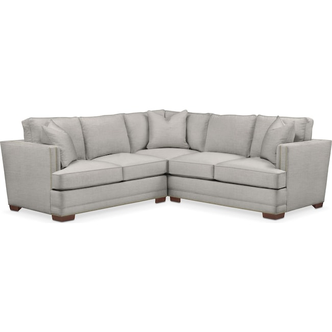 Living Room Furniture - Arden 2 Pc. Sectional with Left Arm Facing Loveseat- Cumulus in Dudley Gray