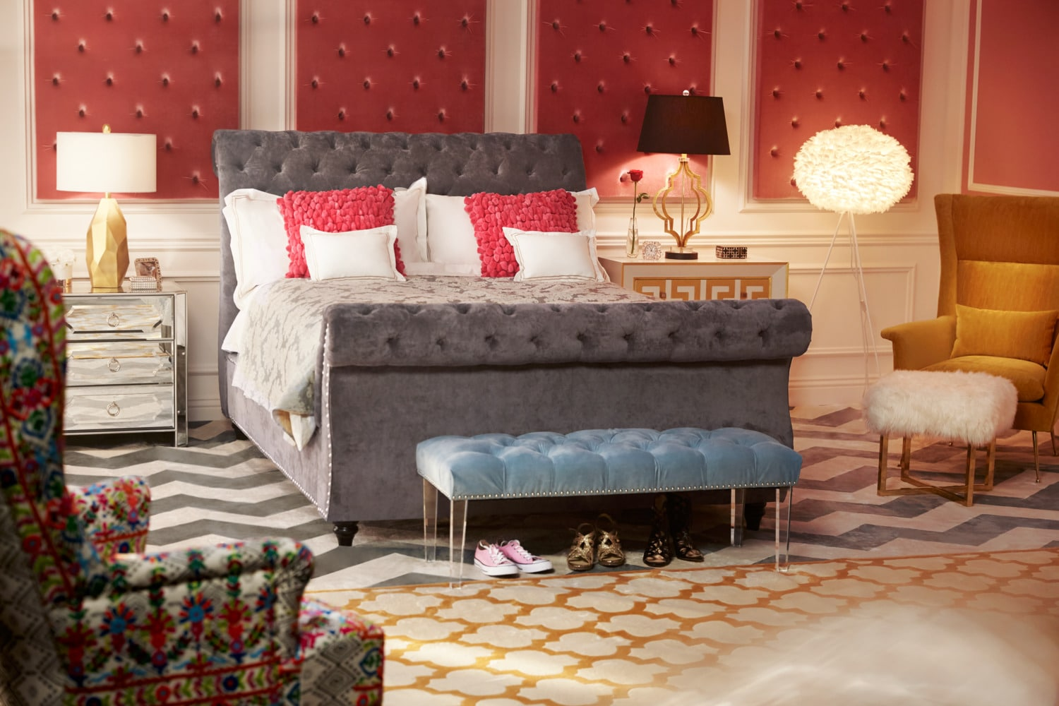 Ella Queen Upholstered Bed Charcoal American Signature